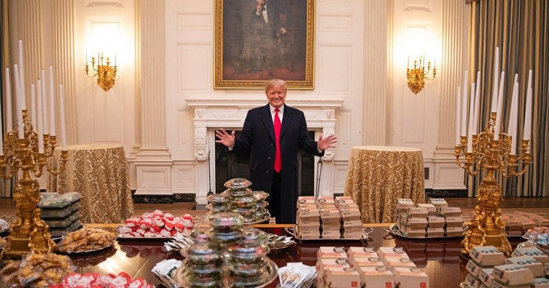 'Accidental Renaissance' photos taken from Reddit | donald trump white house dinner with multiple boxes of fast food spread across the table