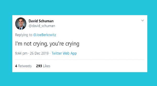 Tweets about The Worst Slang Words of The 2010's | tweet by david_schuman Replying JoeBerkowitz not crying crying