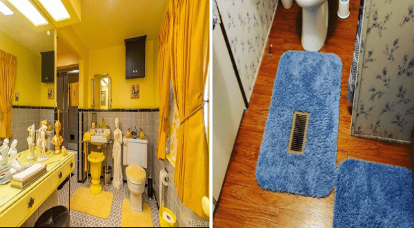 awful design fails on instagram | bathroom decorated in a pee shade yellow and greek statues. fuzzy carpets in the bathroom.