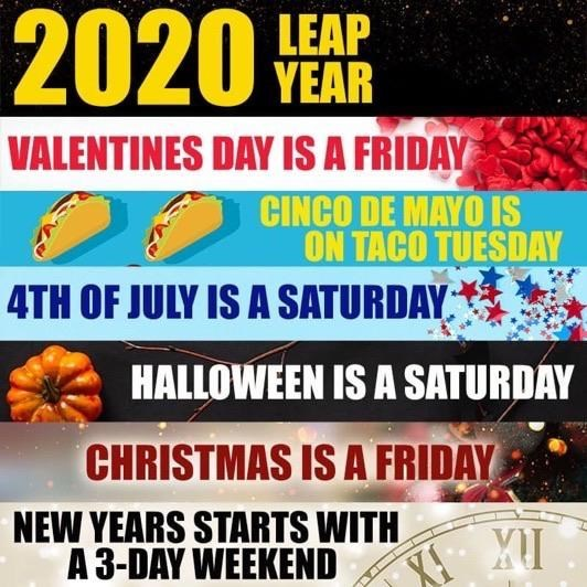 list of the top cool guides and info of the day | Squash - 2020 YEAR VALENTINES DAY IS FRIDAY CINCO DE MAYO IS ON TACO TUESDAY 4TH JULY IS SATURDAY, HALLOWEEN IS SATURDAY CHRISTMAS IS FRIDAY NEW YEARS STARTS WITH 3-DAY WEEKEND