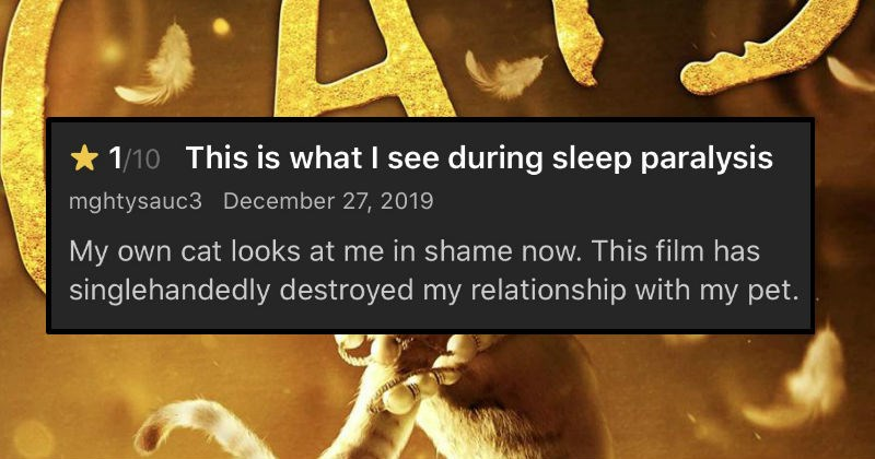 "Funny unfavorable reviews of the movie ""Cats"" 