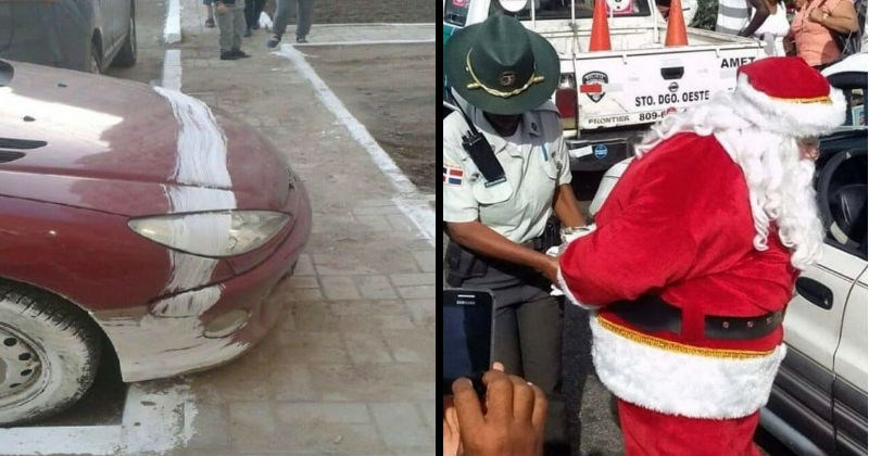 Chaotic moments of failure, messes, mistakes and misfortune | car that got painted white while parking. santa claus getting arrested by a police officer.