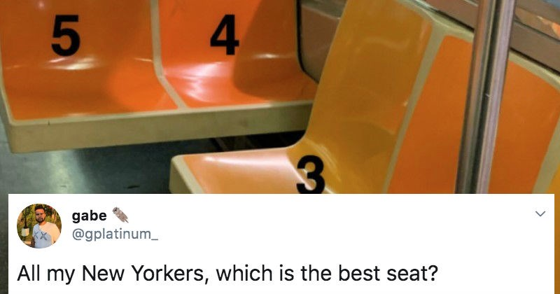 A collection of Twitter users debate which seat is the best option when taking the subway | tweet by gplatinum_ All my New Yorkers, which is best seat?