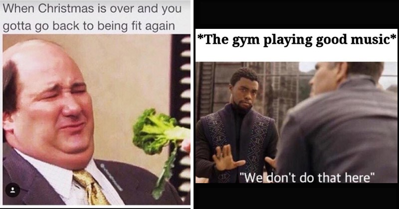 Funny memes about the gym, working out, New Years resolutions | brian from the office disgusted by broccoli: Christmas is over and gotta go back being fit again. gym playing good music We don't do here