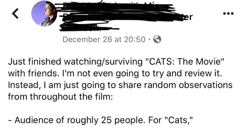 "Guy shares all of his hilarious and random observations on the ""Cats"" movie 