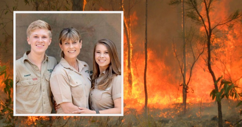 steve irwin animals australia rescue saved fires | terri irwin with her kids robert and bindi dressed in khaki posing together