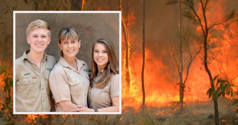 steve irwin animals australia rescue saved fires | terri irwin with her kids robert and bindi dressed in khaki posing together
