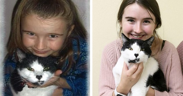 cat reunited lost found animal shelter aww fate | photo of a girl and a black and white cat and a photo of the girl now grown up holding the same cat