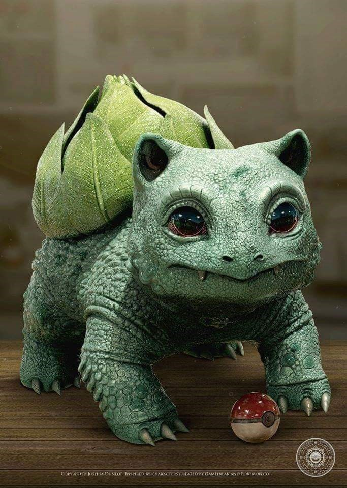 realistic pokemon art cool awesome zoology instagram artist | realistic model of the bulbasaur pokemon standing above a pokeball