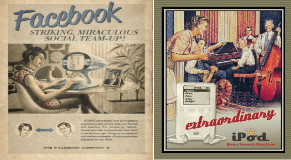 Modern technology represented by vintage ads | Facebook STRIKING, MIRACULOUS SOCIAL TEAM-UP! SHARE abundantly photographs, experiences and stories with friends and families leisure or labour, Facebook is enchantment next look social team-ups. Eloquent economical and modern examples communication adequate our times FACEBOOK COMPANY. extraordinary iPod Your Smart Election