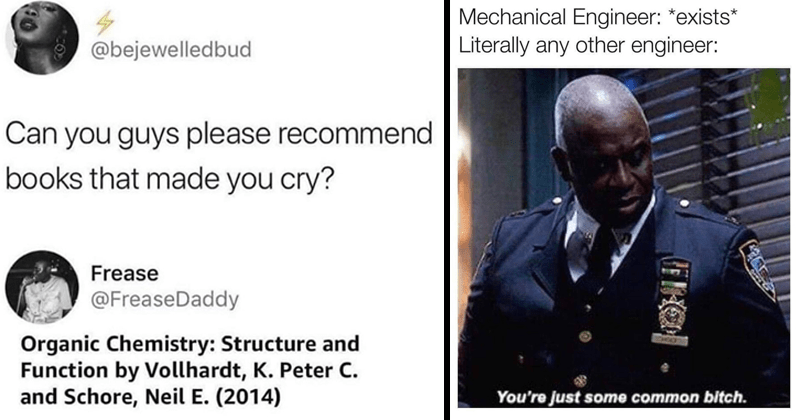 FUNNY MEMES, ENGINEERING MEMES, stupid memes, school memes, science memes, chemistry, biology, college, college memes | tweet by bejewelledbud Can guys please recommend books made cry? FreaseDaddy Organic Chemistry: Structure and Function by Vollhardt, K. Peter C. and Schore, Neil E 2014. Mechanical Engineer exists Literally any other engineer Just some common bitch.