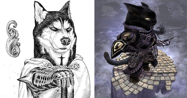 art cats dogs warriors noble artist illustrations japanese cool awesome | detailed artwork of a serious husky dog in a cape leaning on a sword. drawing of a badass looking black cat in full body armor.