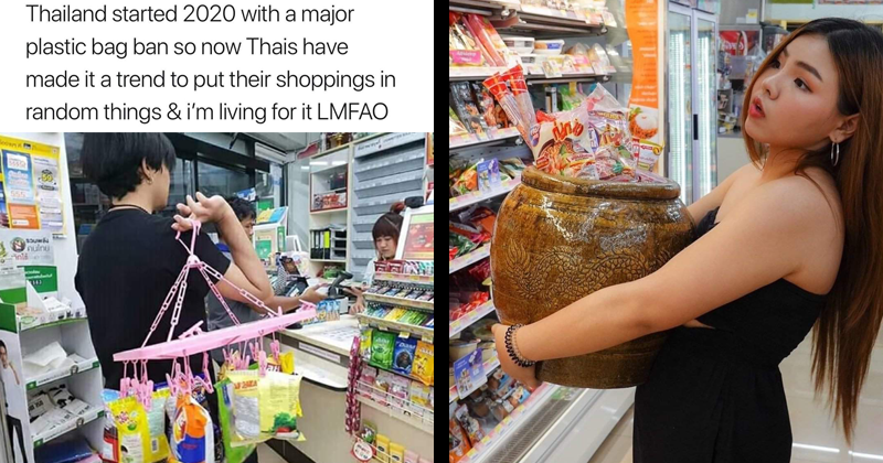 funny pictures of thai people shopping after plastic bag ban in thailand, people shopping using weird objects   Thailand started 2020 with major plastic bag ban so now Thais have made trend put their shoppings random things living LMFAO. man carrying groceries using a hanging a drying rack and clothespins. woman carrying in groceries inside a large pot.