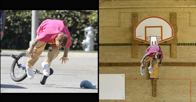 Funny photoshopped images of Justin Bieber falling off of a unicycle - cringe, facepalm | justin bieber in a pink shirt flying face forward from a unicycle. justin bieber photoshopped with a wedgie hanging from a basketball net.