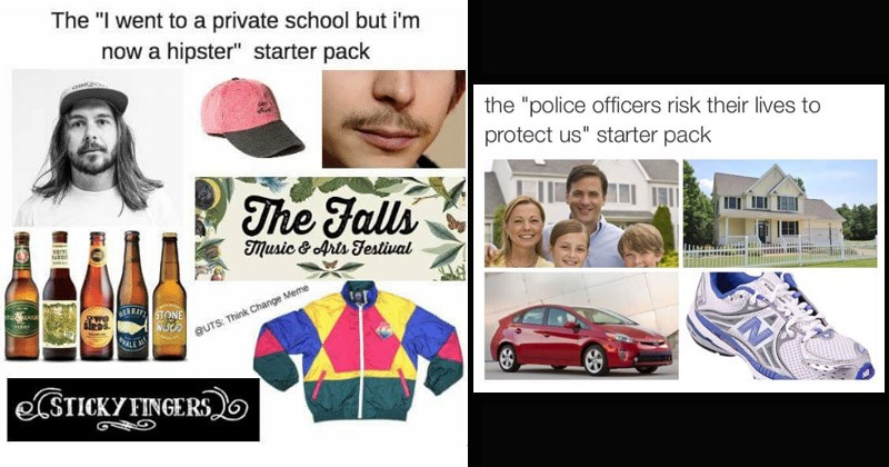 "Funny starter pack memes about stereotypes of certain types of people - cover image includes ""The 'I went to private school but I'm not a hipster' starter pack, and ""The 'police officers risk their lives to protect us' starter pack"""