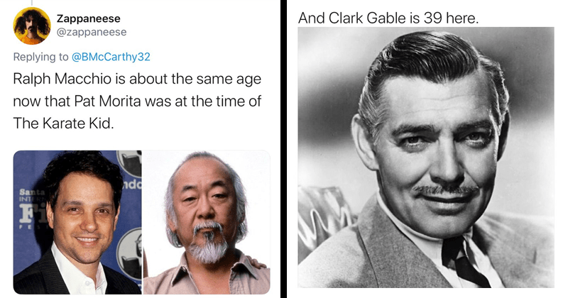 Mind-boggling twitter thread about how people seemed to age faster in the past, featuring celebrity photos, actors, pro sports players, musicians, clark gable, pat morita, karate kid | Ralph Macchio is about same age now Pat Morita at time Karate Kid. And Clark Gable is 39 here.