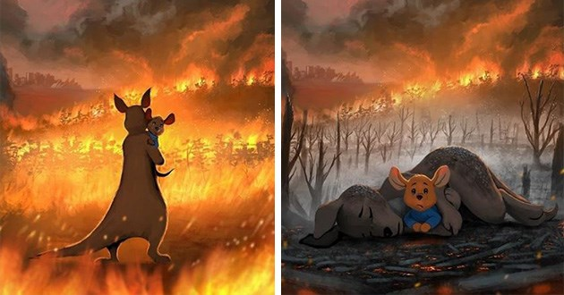 art illustration Australia fire koalas kangaroos powerful instagram fires | kangaroo mother and son kanga and roo from winnie the pooh trapped in bushfire, kanga lies dead on the ground with roo peeking out from under her