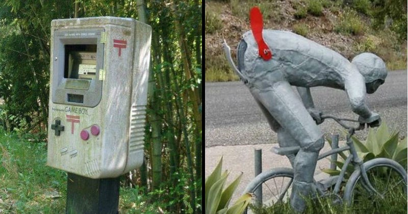 Fun mailboxes that are made to look like other things   atm machine shaped like a game boy console. mail box shaped like a person riding a bike with the door situated on the butt