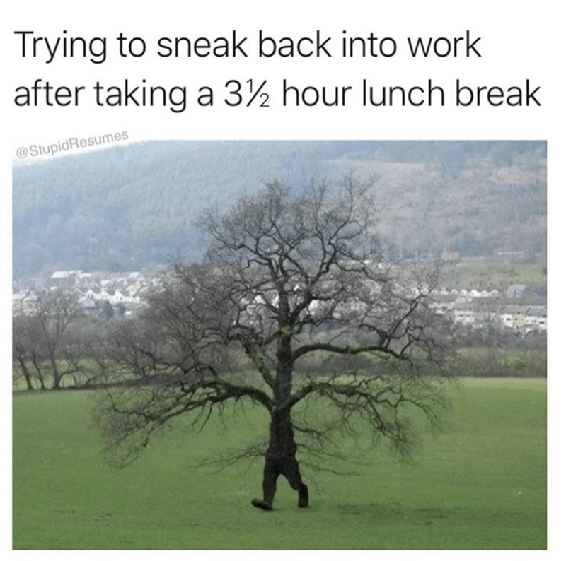 list of funny random memes | Person - Trying sneak back into work after taking 3½ hour lunch break @StupidResumes