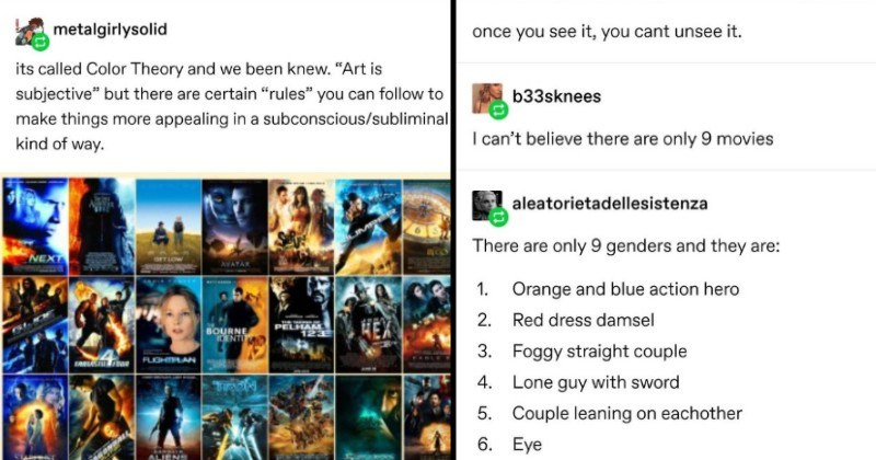 """Tumblr discusses the nine types of movie posters   catchymemes Seems like Disney is using same guy graphics department. ALADDIN DARK PHOENIX STAR WARS thegaysassyfrenchy deadass thought this 3 Star Wars movies. metalgirlysolid its called Color Theory and been knew Art is subjective"""" but there are certain """"rules can follow make things more appealing subconscious/subliminal kind way"""