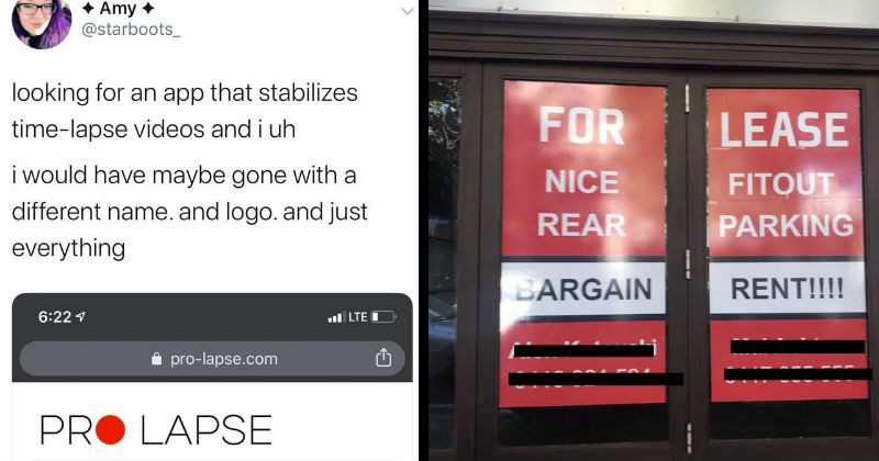 Funny dirty and stupid design failures | tweet by starboots_ looking an app stabilizes time-lapse videos and uh would have maybe gone with different name. and logo. and just everything PRO LAPSE. FOR NICE REAR BARGAIN LEASE FITOUT PARKING RENT