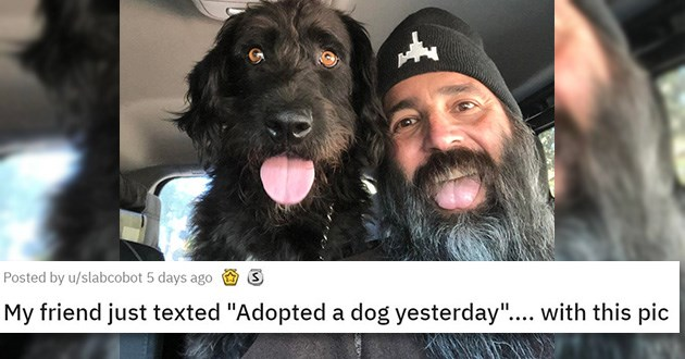 adopted rescue cats dogs aww cute shelter animals | My friend just texted Adopted a dog yesterday.... with this pic: man with a long beard sticking his tongue out next to a scruffy black dog with its tongue hanging out