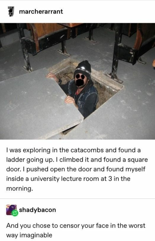 top 10 ten daily tumblr posts | marcherarrant exploring catacombs and found ladder going up climbed and found square door pushed open door and found myself inside university lecture room at 3 morning. shadybacon And chose censor face worst way imaginable