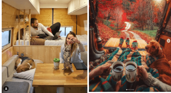 photos of people living in a van with their dogs | couple living in a small van wooden interior man lounging on the bed using laptop woman playing with a cat on the table and dog sleeping on a pillow on the couch. photo of a couple's feet covered in a blanket holding mugs in front of an autumn scene with a dog curled beside them