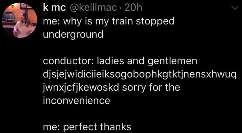 memes that are funny and very relatable | Person - k mc @kellmac 20h why is my train stopped underground conductor: ladies and gentlemen djsjejwidiciieiksogobophkgtktjnensxhwuq jwnxjcfjkewoskd sorry inconvenience perfect thanks