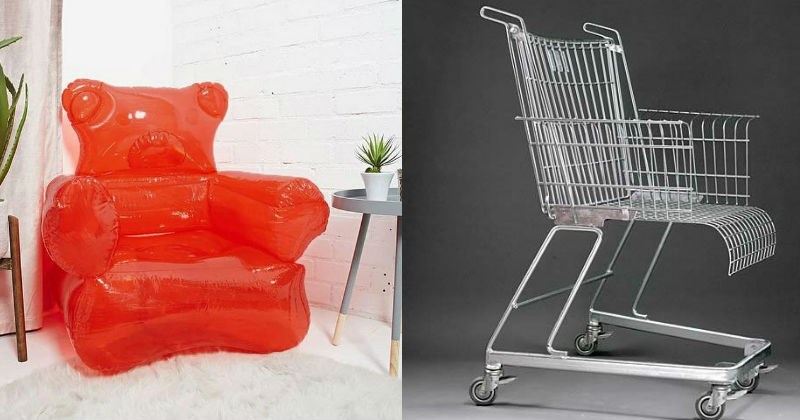 Chairs that are artistic, interesting and strange | clear orange inflated chair gummy bear shaped | chair made out of a shopping cart with wheels attached.