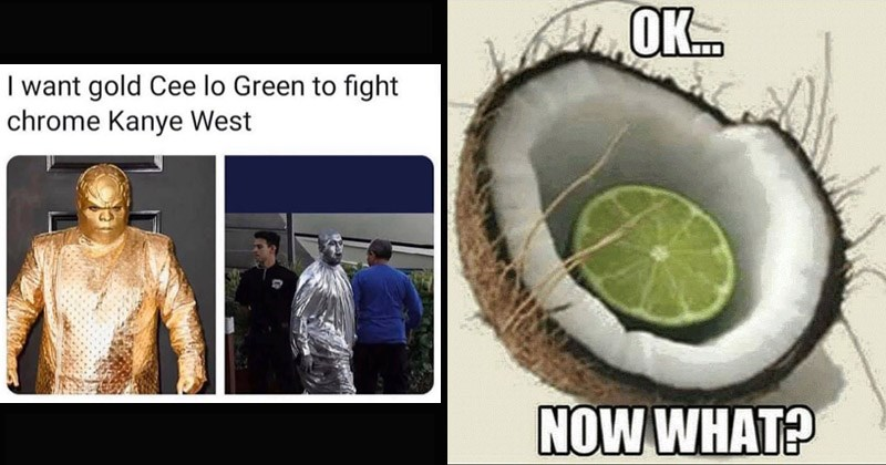 Funny random memes, tweets and Tumblr posts | want gold Cee lo Green fight chrome Kanye West. lime inside a coconut: OK. NOW ?