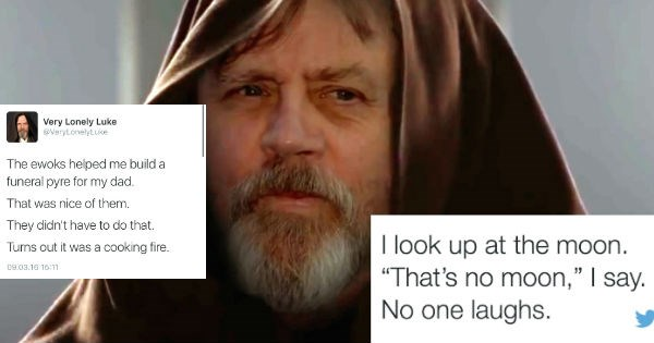 twitter,lonely luke,star wars,luke skywalker,lonely,funny