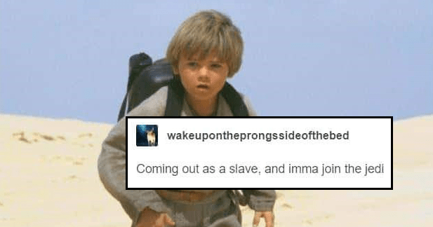 funny tumblr parody of mr. brightside by the killers using the star wars prequels as a theme, anakin skywalker, obi wan kenobi | child anakin skywalker walking in sand with a backpack: wakeupontheprongssideofthebed Coming out as slave, and imma join jedi
