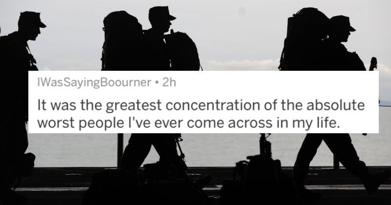 A collection of AskReddit replies to Redditors that joined the military and went on to regret it | tweet by IWasSayingBoourner greatest concentration absolute worst people l've ever come across my life silhouettes of soldiers walking
