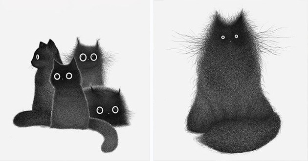 art black cats ink drawing cute aww instagram | art illustration of fuzzy black cats with the only details being their eyes and fur