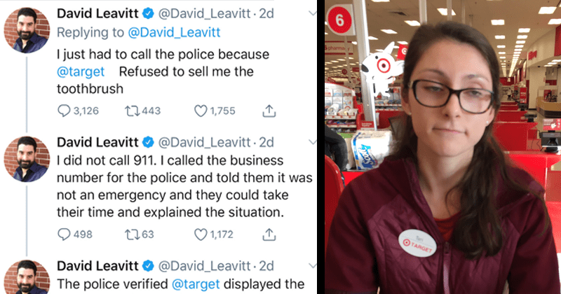 funny twitter thread where david leavitt gets roasted for calling the cops after manager tori perotti refuses to sell him an electric toothbrush for one cent | tweet by David_Leavitt just had call police because target Refused sell toothbrush did not call 911 called business number police and told them not an emergency and they could take their time and explained situation. police verified