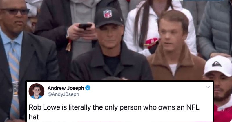 A collection of funny roasts regarding Rob Lowe's ridiculous NFL hat | tweet by AndyJOseph Rob Lowe is literally only person who owns an NFL hat FOX CHAMPIONSHIP TIMEOUT PACKERS crowd in sports event men wearing hats
