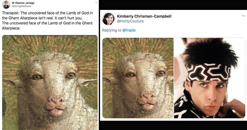 Funny dank memes and tweets about the restored Ghent Altarpiece lamb restoration | tweet by GoingMedieval Therapist uncovered face Lamb God Ghent Altarpiece isn't real can't hurt uncovered face Lamb God Ghent Altarpiece. derek zoolander blue steel