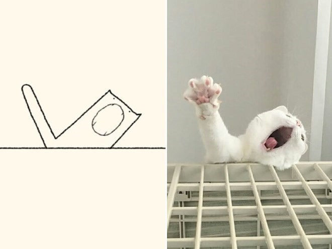 Stupid Cat Drawings | white cat falling from or climbing the side of a stage one paw up and its mouth wide open, and a simplified minimalist illustration of the moment