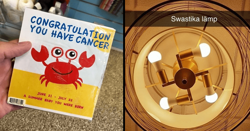 Funny and cringey design fails from reddit | card with cute drawing of a red crab: CONGRATULATION HAVE CANCER JULY 22 JUNE 21 SUMMER BABY WERE BORN. Swastika lämp