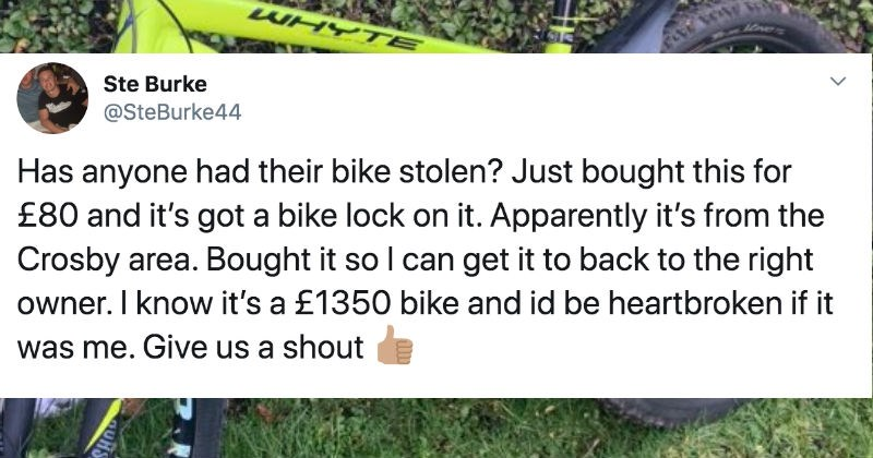Good guy buys an $1800 bike for $100 off a thief, and proceeds to return it to the owner | tweet by SteBurke44 Has anyone had their bike stolen? Just bought this 80 and 's got bike lock on Apparently 's Crosby area. Bought so can get back right owner know 's 1350 bike and id be heartbroken if Give us shout