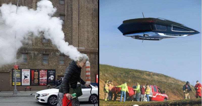 Optical illusions created by weird perspective | old woman walking in the street in front of a chimney letting out smoke appearing as if her own head is dissolving into smoke. flying object above a group of people and cars on a riverbank