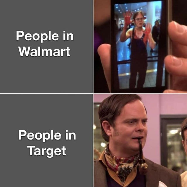 the office top weekly memes   Scarf - People Walmart People Target dwight fancy clothes vs not