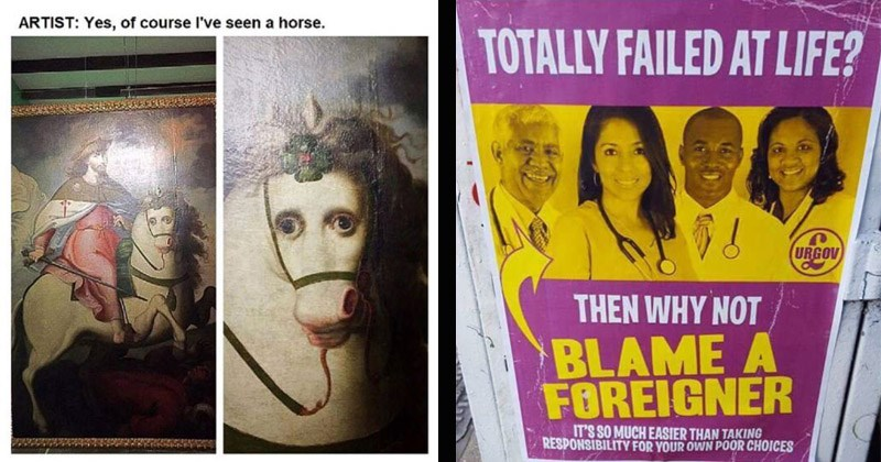 Funny random memes | painting ARTIST: Yes course l've seen horse. photo of doctors people of color. TOTALLY FAILED AT LIFE? URGOV THEN WHY NOT BLAME FOREIGNER 'S SO MUCH EASIER THAN TAKING RESPONSIBILITY OWN POOR CHOICES.