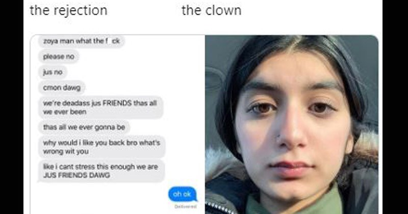 "Funny Twitter memes about getting romantically rejected entitled, ""The Rejection, The Clown"""