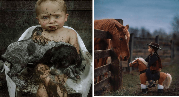 Amazing animal photos | child sitting on a chair holding a puppy both covered in mud. young child in a cowboy costume riding a toy pony standing in front of a real horse behind a fence