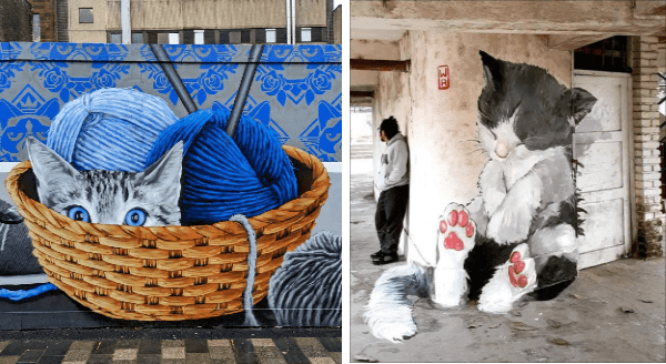 Street Art Featuring Cats | graffiti cat peeking out of a basket of yarn balls knitting supplies. black and white kitten sitting up sleeping against the wall