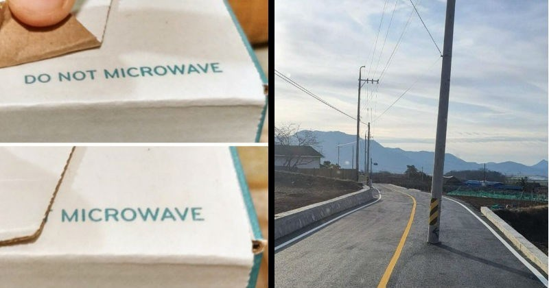 "Stupid and bad design fails | cardboard box folded in a way that makes the warning ""do not microwave"" as ""microwave"". utility pole in the middle of a road."