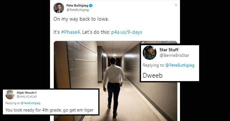 Funny memes and Twitter reactions to Pete Buttigieg's presumably staged 'walk back to Iowa' | Pete Buttigieg @PeteButtigieg On my way back lowa s #Phase4. Let's do this: p4a.us/9-days Elijah Woodn't @root_of_all_eli Replying PeteButtigieg look ready 4th grade, go get em tiger Star Stuff @BernieBroStar Replying PeteButtigieg Dweeb