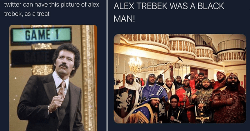 funny tweets about how youn alex trebek looks like a black man, aftrican american | twitter can have this picture alex trebek, as treat GAME 1 ALEX TREBEK BLACK MAN! jeopardy black people twitter